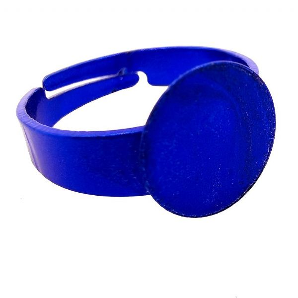 Metallic Blue Adjustable Ring w/ 10mm Ring Plate Ring Size 49
